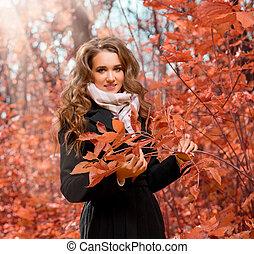 automne, girl, forêt