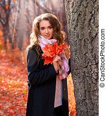 automne, girl, forêt, jeune