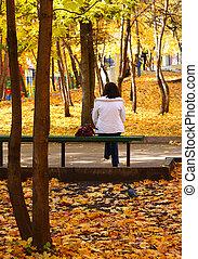 automne, girl, garez banc