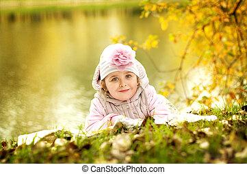 automne, girl, herbe, parc, mensonge