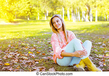 automne, girl, jeune, joli, jour