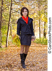 automne, girl, marche