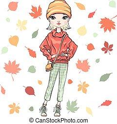 automne, girl, mode, vecteur, vêtements