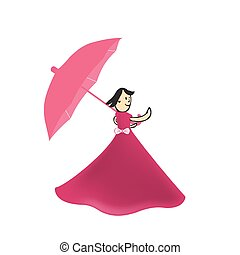 automne, girl, parapluie, illustration, promenades