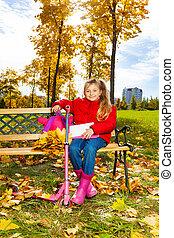 automne, girl, parc, asseoir