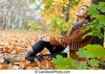 automne, girl, parc, beauté