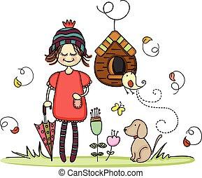 automne, girl, parc, chien