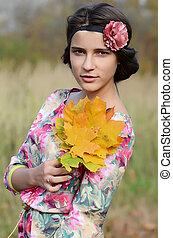 automne, girl, parc, jeune