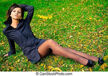 automne, girl, parc, jeune, joli