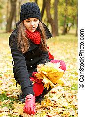 automne, girl, parc, jeune, séduisant