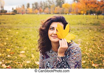 automne, girl, parc, outdoors., automne