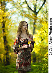 automne, girl, parc