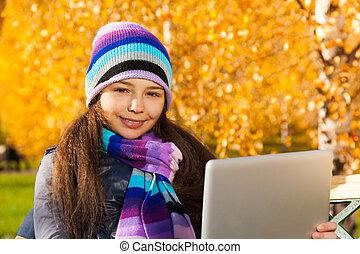 automne, girl, parc, tablette