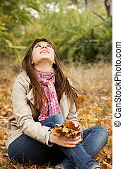 automne, girl, park.