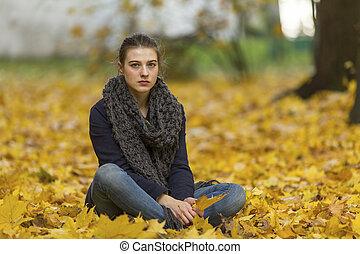 automne, girl, park., jeune