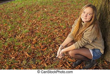 automne, girl, park., jeune, joli