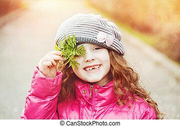 automne, girl, park., rire