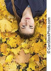 automne, girl, séduisant, jeune