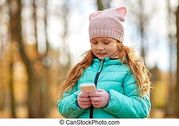 automne, girl, smartphone, parc