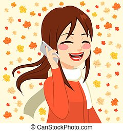 automne, girl, smartphone