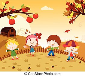 automne, gosses