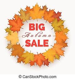 automne, grand, couronne, vente, étiquette