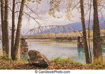automne, grand, remous, pont
