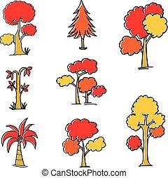 automne, griffonnage, ensemble, arbre