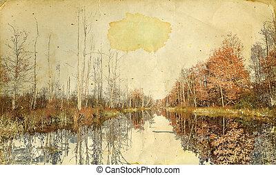 automne, grunge, paysage, fond