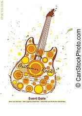 automne, guitare, affiche