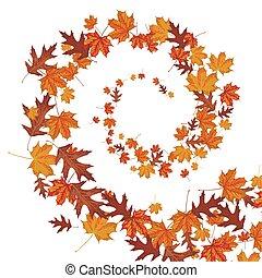 automne, hélix, feuillage, vent