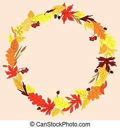 automne, herbes, cadre, glands, feuilles
