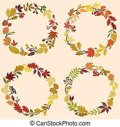 automne, herbes, fleurs, couronnes, feuilles