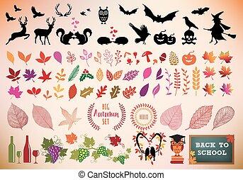 automne, icône, ensemble, vecteur