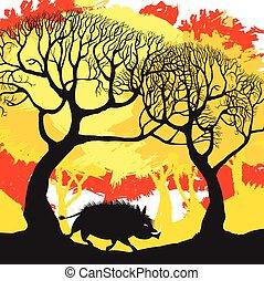 automne, illustration., forest., verrat, vecteur, sauvage