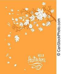 automne, image, bonjour, jaune