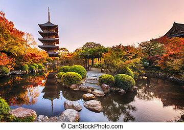 automne, japan., temple, toji, ancien, jardin, bois, kyoto, pagode