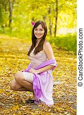 automne, joli, parc, girl