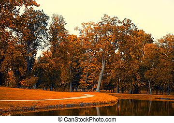 automne, lac