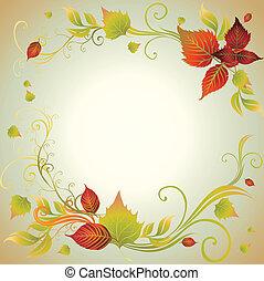 automne, leafs., cadre, t, coloré