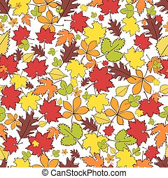 automne, leaves., fond, seamless