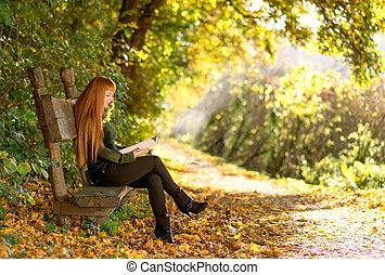 automne, lecture femme, nature