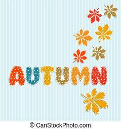 automne, lettrage, feuilles, automne