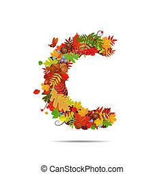 automne, lettre c, feuilles, coloré