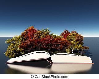 automne, livre, arbres
