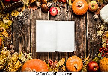 automne, livre, vieux, vegetables., fruits