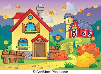 automne, maison, thème, 1