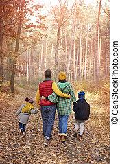 automne, marche, famille