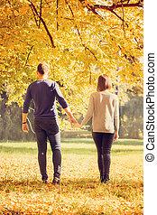 automne, marche, parc, couple, jeune