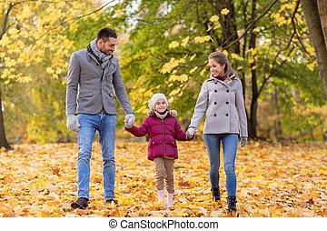 automne, marche, parc, famille, heureux
